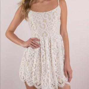 Tobi White Lace Skater Dress
